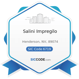 Salini Impregilo - SIC Code 6719 - Offices of Holding Companies, Not Elsewhere Classified