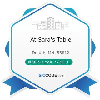 At Sara's Table - NAICS Code 722511 - Full-Service Restaurants