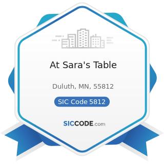 At Sara's Table - SIC Code 5812 - Eating Places