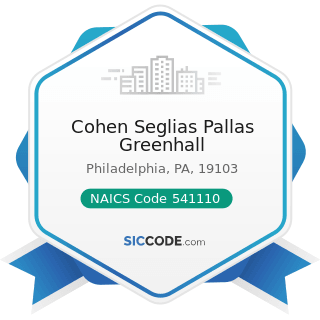 Cohen Seglias Pallas Greenhall - NAICS Code 541110 - Offices of Lawyers