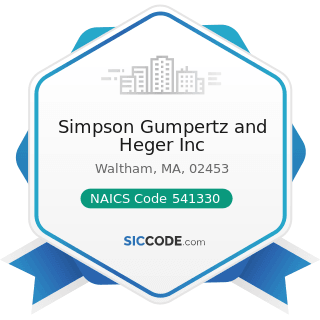 Simpson Gumpertz and Heger Inc - NAICS Code 541330 - Engineering Services