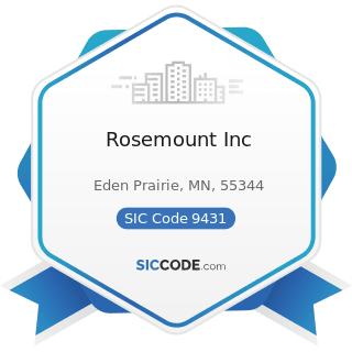 Rosemount Inc - SIC Code 9431 - Administration of Public Health Programs