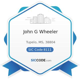 John G Wheeler - SIC Code 8111 - Legal Services