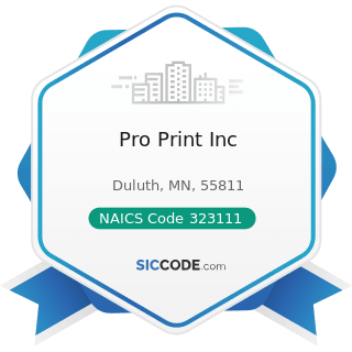 Pro Print Inc - NAICS Code 323111 - Commercial Printing (except Screen and Books)