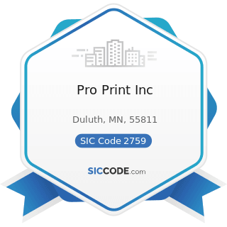 Pro Print Inc - SIC Code 2759 - Commercial Printing, Not Elsewhere Classified