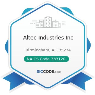 Altec Industries Inc - NAICS Code 333120 - Construction Machinery Manufacturing