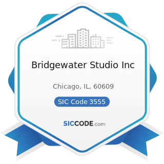 Bridgewater Studio Inc - SIC Code 3555 - Printing Trades Machinery and Equipment