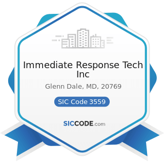 Immediate Response Tech Inc - SIC Code 3559 - Special Industry Machinery, Not Elsewhere...