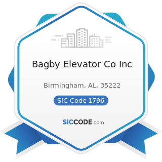 Bagby Elevator Co Inc - SIC Code 1796 - Installation or Erection of Building Equipment, Not...
