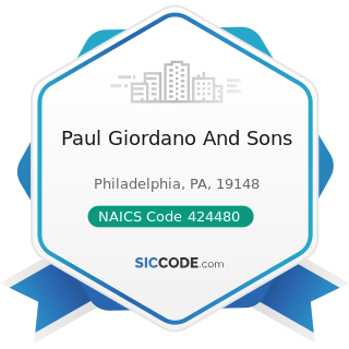 Paul Giordano And Sons - NAICS Code 424480 - Fresh Fruit and Vegetable Merchant Wholesalers