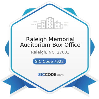 Raleigh Memorial Auditorium Box Office - SIC Code 7922 - Theatrical Producers (except Motion...