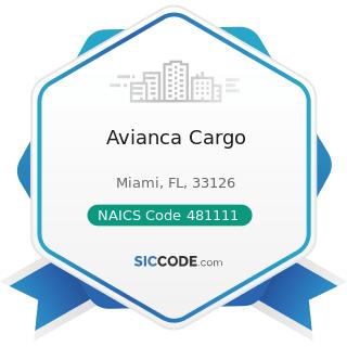 Avianca Cargo - NAICS Code 481111 - Scheduled Passenger Air Transportation