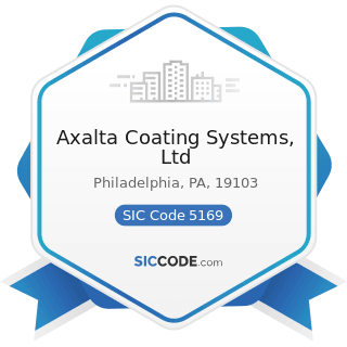 Axalta Coating Systems, Ltd - SIC Code 5169 - Chemicals and Allied Products, Not Elsewhere...