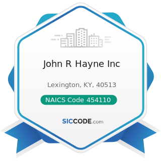 John R Hayne Inc - NAICS Code 454110 - Electronic Shopping and Mail-Order Houses