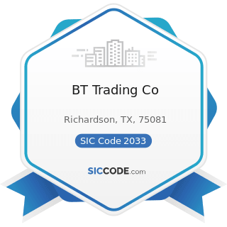 BT Trading Co - SIC Code 2033 - Canned Fruits, Vegetables, Preserves, Jams, and Jellies