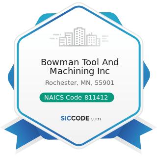 Bowman Tool And Machining Inc - NAICS Code 811412 - Appliance Repair and Maintenance