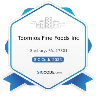 Toomios Fine Foods Inc - SIC Code 2033 - Canned Fruits, Vegetables, Preserves, Jams, and Jellies