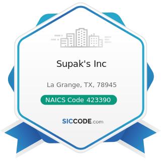 Supak's Inc - NAICS Code 423390 - Other Construction Material Merchant Wholesalers