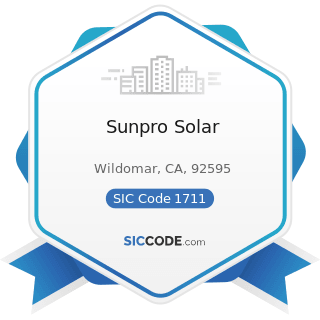 Sunpro Solar - SIC Code 1711 - Plumbing, Heating and Air-Conditioning