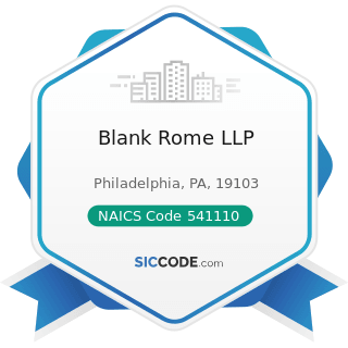 Blank Rome LLP - NAICS Code 541110 - Offices of Lawyers