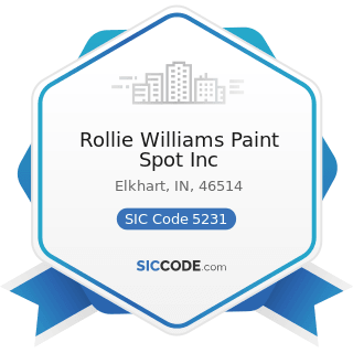 Rollie Williams Paint Spot Inc - SIC Code 5231 - Paint, Glass, and Wallpaper Stores