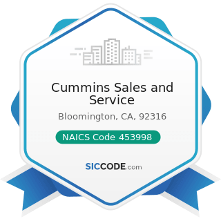 Cummins Sales and Service - NAICS Code 453998 - All Other Miscellaneous Store Retailers (except...