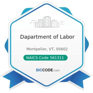 Dapartment of Labor - NAICS Code 561311 - Employment Placement Agencies
