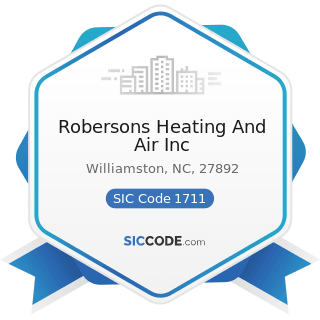 Robersons Heating And Air Inc - SIC Code 1711 - Plumbing, Heating and Air-Conditioning