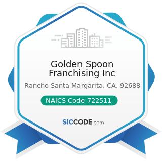 Golden Spoon Franchising Inc - NAICS Code 722511 - Full-Service Restaurants