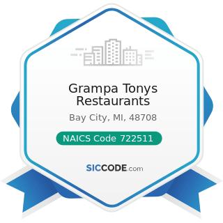 Grampa Tonys Restaurants - NAICS Code 722511 - Full-Service Restaurants