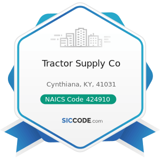 Tractor Supply Co - NAICS Code 424910 - Farm Supplies Merchant Wholesalers