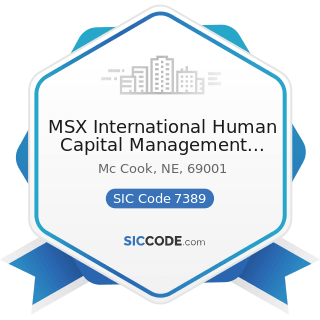 MSX International Human Capital Management Services - SIC Code 7389 - Business Services, Not...