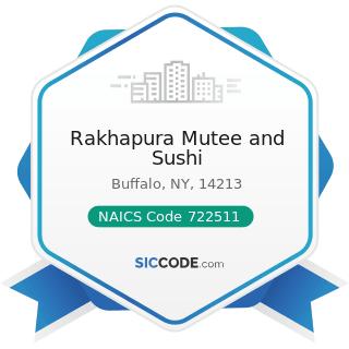 Rakhapura Mutee and Sushi - NAICS Code 722511 - Full-Service Restaurants