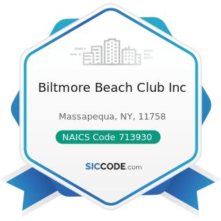 Biltmore Beach Club Inc - NAICS Code 713930 - Marinas