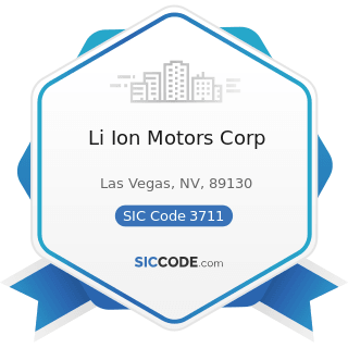 Li Ion Motors Corp - SIC Code 3711 - Motor Vehicles and Passenger Car Bodies