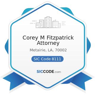 Corey M Fitzpatrick Attorney - SIC Code 8111 - Legal Services