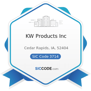 KW Products Inc - SIC Code 3714 - Motor Vehicle Parts and Accessories