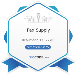 Pax Supply - SIC Code 5075 - Warm Air Heating and Air-Conditioning Equipment and Supplies
