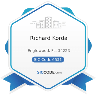 Richard Korda - SIC Code 6531 - Real Estate Agents and Managers
