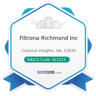 Filtrona Richmond Inc - NAICS Code 323111 - Commercial Printing (except Screen and Books)