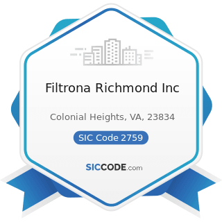 Filtrona Richmond Inc - SIC Code 2759 - Commercial Printing, Not Elsewhere Classified