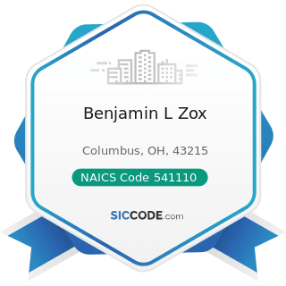 Benjamin L Zox - NAICS Code 541110 - Offices of Lawyers
