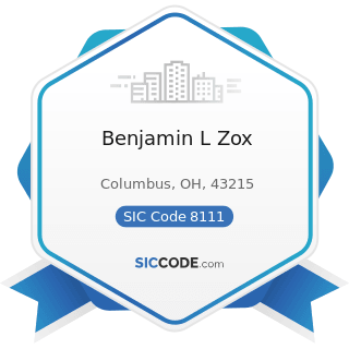 Benjamin L Zox - SIC Code 8111 - Legal Services