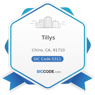 Tillys - SIC Code 5311 - Department Stores