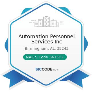 Automation Personnel Services Inc - NAICS Code 561311 - Employment Placement Agencies