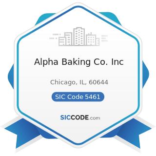 Alpha Baking Co. Inc - SIC Code 5461 - Retail Bakeries