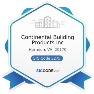 Continental Building Products Inc - SIC Code 3275 - Gypsum Products
