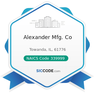 Alexander Mfg. Co - NAICS Code 339999 - All Other Miscellaneous Manufacturing