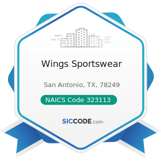 Wings Sportswear - NAICS Code 323113 - Commercial Screen Printing