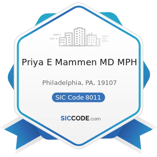 Priya E Mammen MD MPH - SIC Code 8011 - Offices and Clinics of Doctors of Medicine